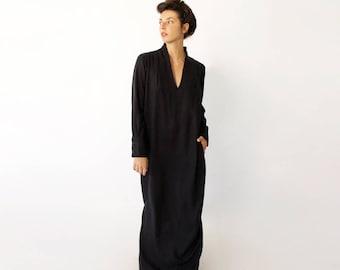 Long Caftan Dress, Loose Black Dress, Kaftan Dress, Cocktail Dress, Black V Neck Dress, Long Sexy Dress, Ready to Ship, Last Sizes - S M XL