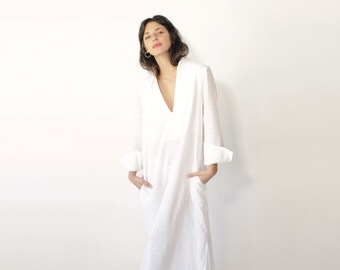 Casual Wedding Dress Linen Dress White Linen Dress Linen