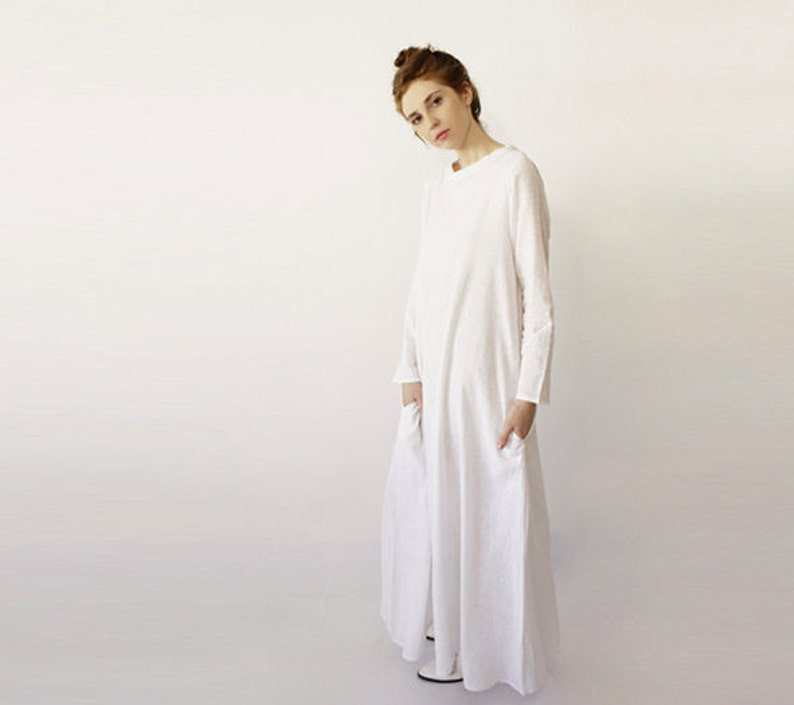 3a84b999bc White Linen Dress Spring Clothing Long Maxi Dress Simple