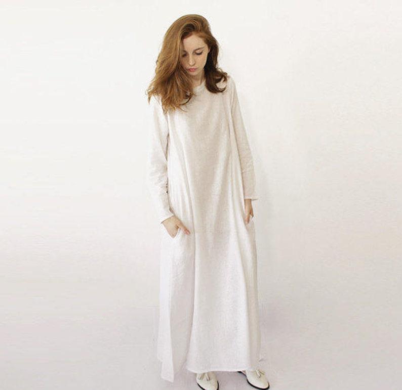 b479b4e57b1 White Linen Dress Spring Clothing Long Maxi Dress Simple