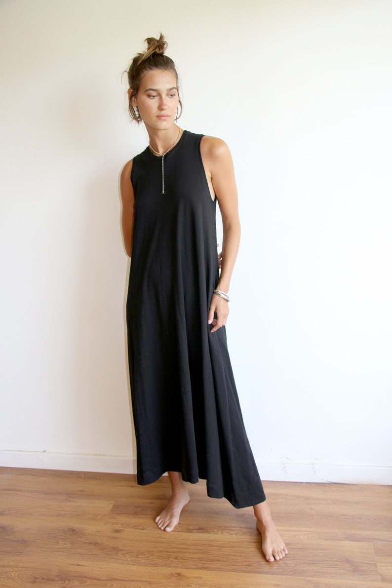 Black Plus Size Minimalist Tank Maxi Dress