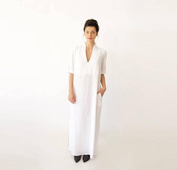 Short Sleeve Wedding Dress Long White Dress Bohemian Wedding Etsy