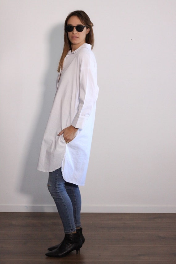 Plus Size Tunic Dress, White Tunic Shirt, Maxi Tunic, Oversized White Shirt  Dress, Oversize Tunic, Minimalist Long Shirt, Plus Size Shirt