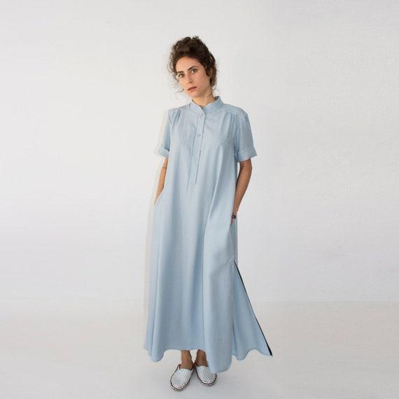 Bohemian Light Blue Plus Size Maxi Wedding Bridesmaid Kaftan Etsy