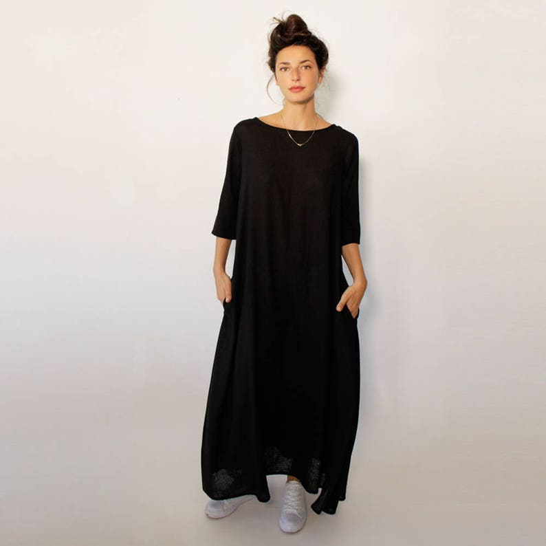 SleevesEtsy With Length Pockets Dress 34 Maxi Black N0XZnwk8OP