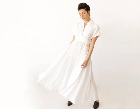 Unqiue Wedding Dress White Maxi Dress Long White Dress | Etsy