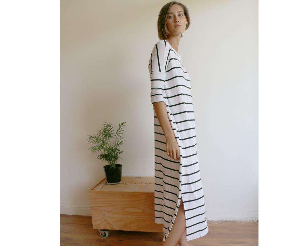 Relaxed Fit Dress Oversized Maxi Dress Double Side Slits  f7e604fce