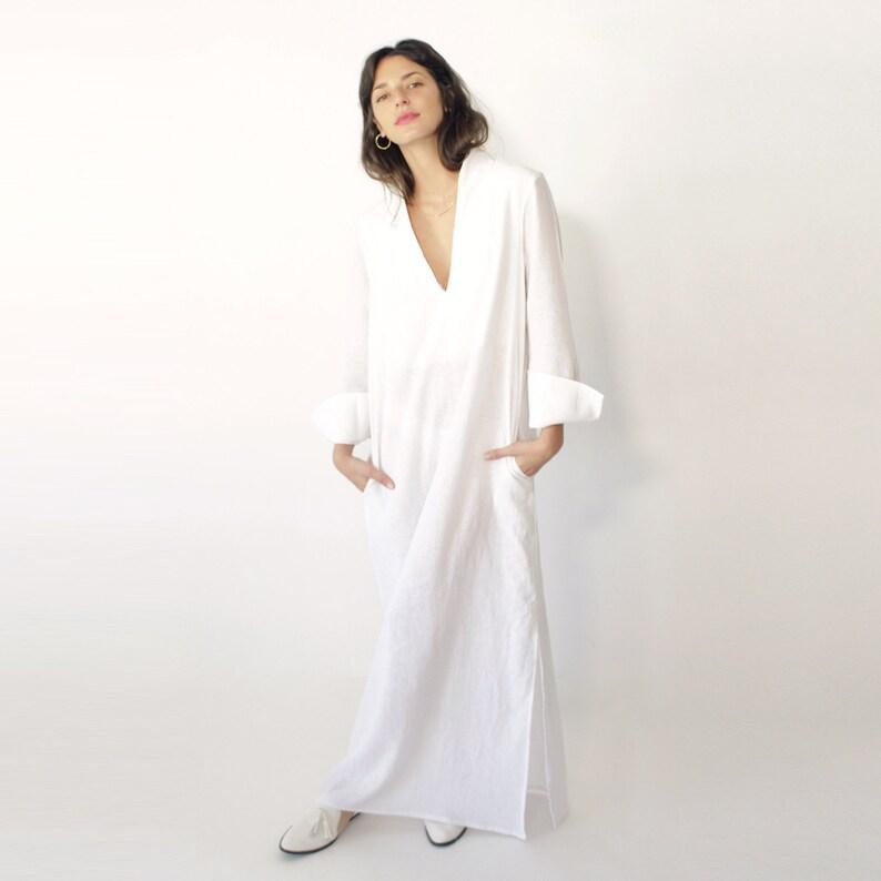 White Linen Dress, Linen Dress, Kimono Dress, Plus Size Clothing, Maxi  White Dress, Maxi Dress, Plus Size Dress, Linen Wedding Dress, Kaftan