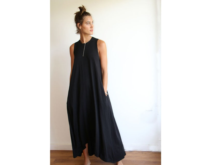 6d2faf96756 Black Tank Dress Oversized Maxi Dress Casual Wear Black
