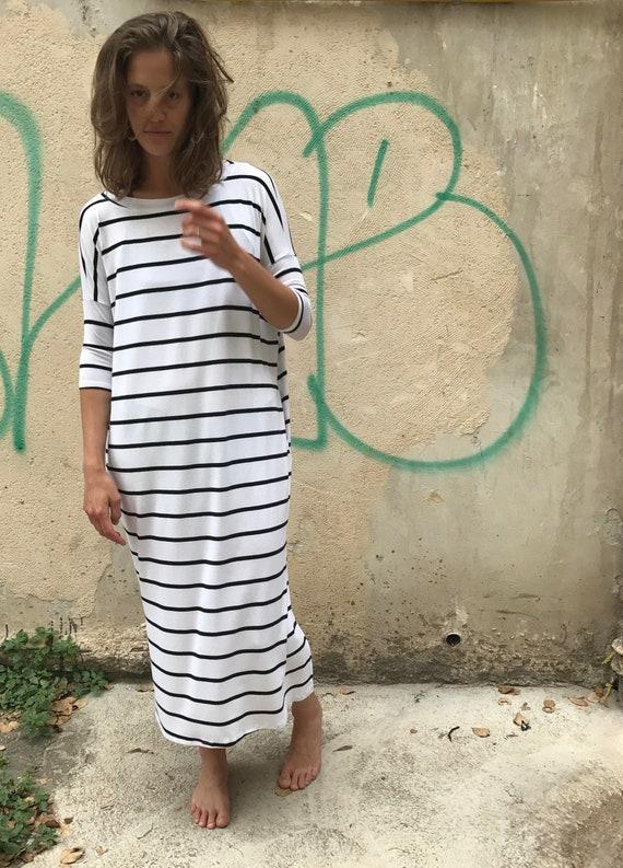 Loose Long Midi Dress Dress Dress Fit Casual Dress Summer Clothing Pockets Trendy Dress Stylish Dress Casual Womens Maxi Striped 0wqf8xwB7