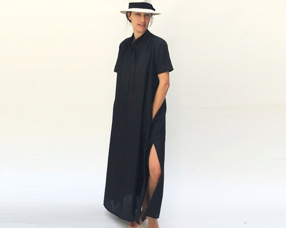 Modest Plus Size Dress, Plus Size Black Kaftan, Everyday Kaftan Dress,  Minimalist Plus Size Clothing, Modern Plus Size Dress, Black Maxi