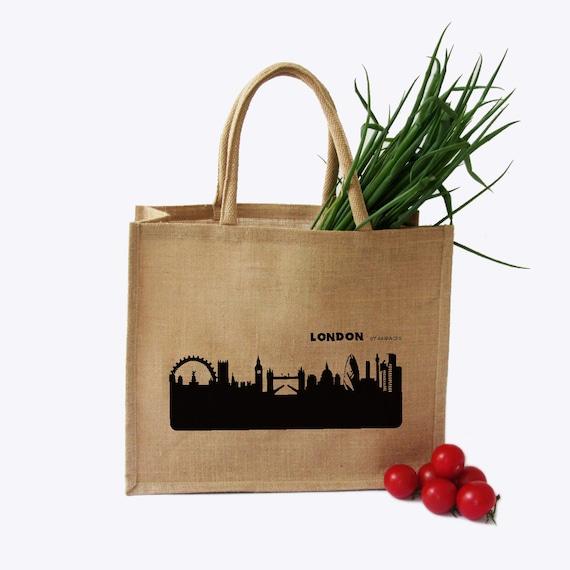 ScreenPrinted Market Bag Large VIENNA Jute Shopping Bag Beach or Gym Bag VIENNA Skyline Burlap Bag Vienna Gift Bag Vienna Tote Bag