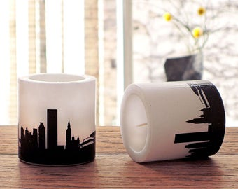 2 New York City candles skyline in plum, distinctive hostess gift home office, gift idea New York lovers, cozy decor living room, 44spaces