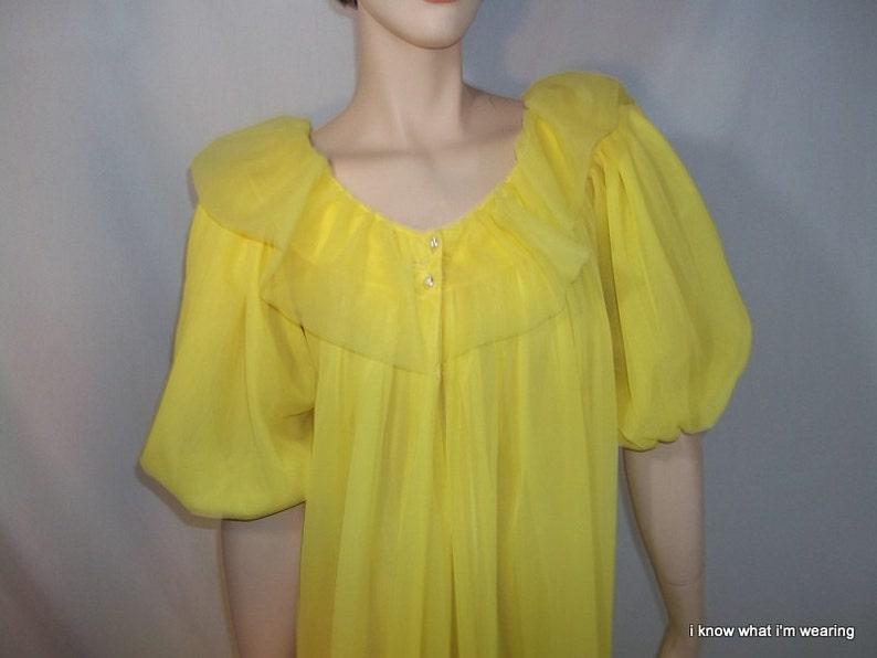 ebf569973478 Vintage 60's Lemon Double Chiffon Peignoir Set | Etsy