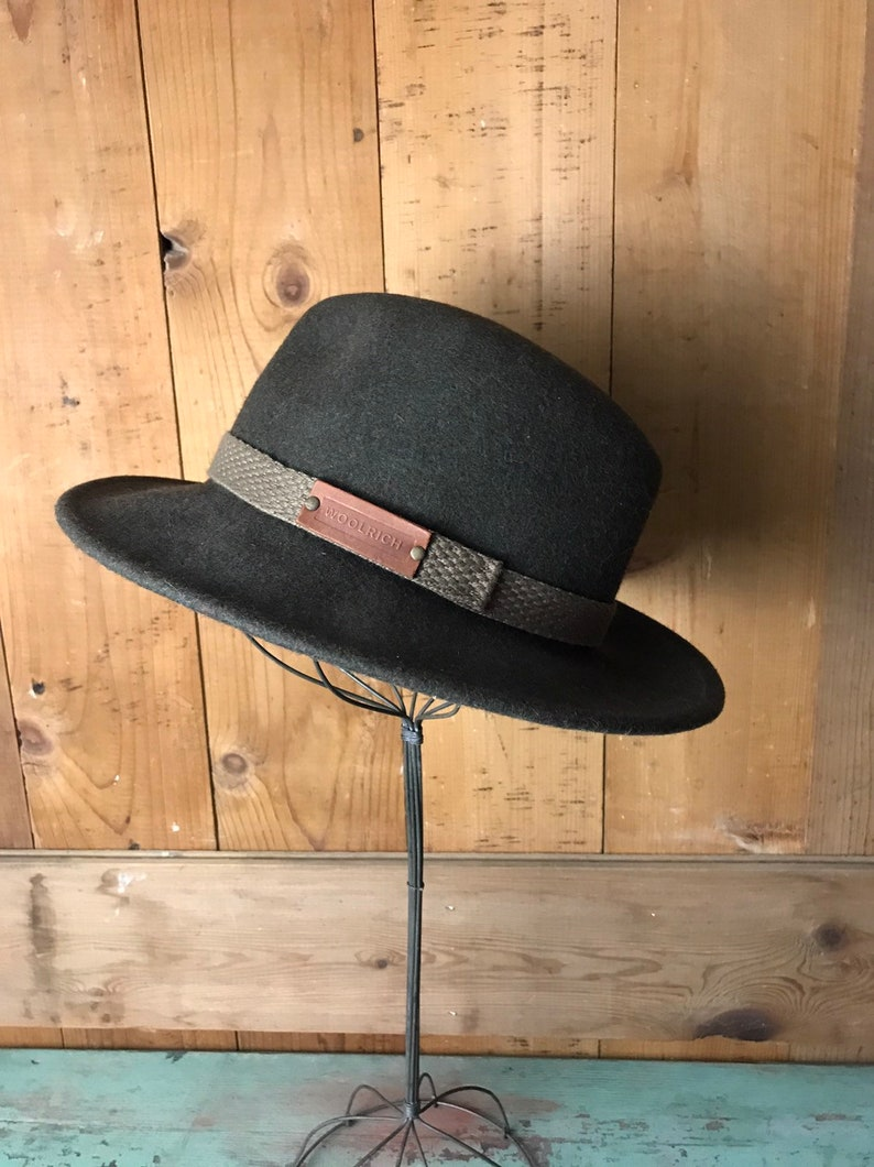 2eac9116150 Vintage Woolrich Fedora Hat Winter Wool Hat USA Olive Green