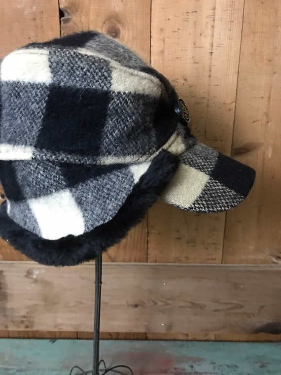 98a652fa269 Vintage Insulated Plaid Wool Ski Hat Faux Fur Ear Flaps