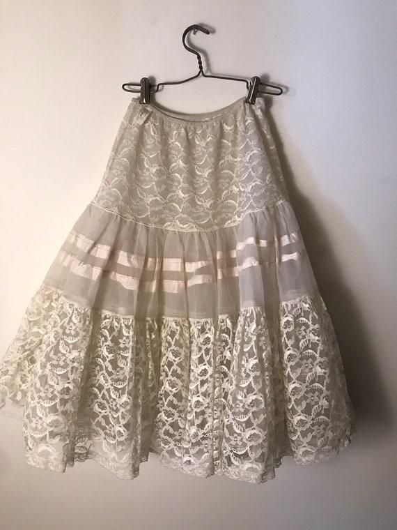 Vintage Lace Petticoat White Half Slip Full Circle