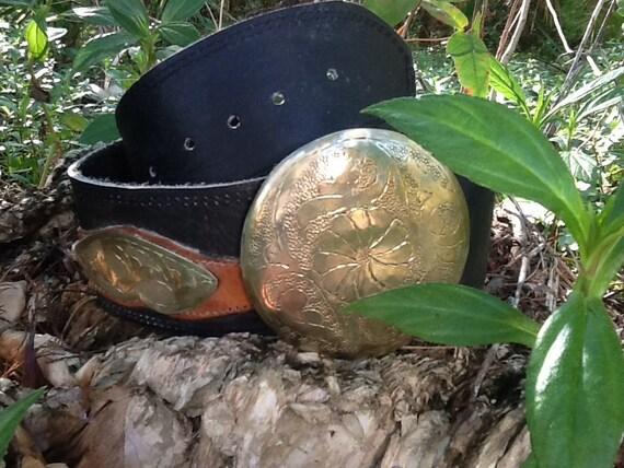 Vintage Moroccan Brass Black Woven Leather Belt Wi