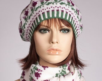 e361e3c62656c Hand knitted set beret and scarf white with purple green roses fair isle  jacquard woolen tam for women for girls colored mother s day gifts