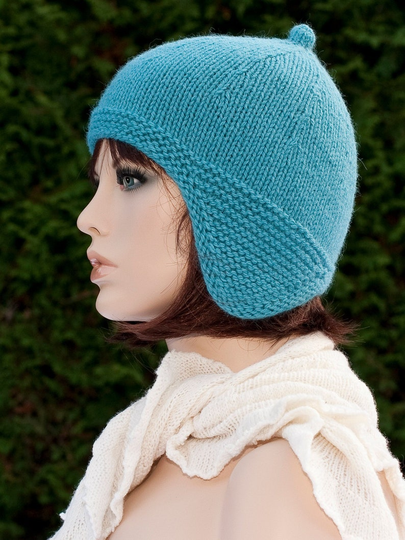 f5d273a6e10 Hand knitted blue hat with ear flaps for women for girls
