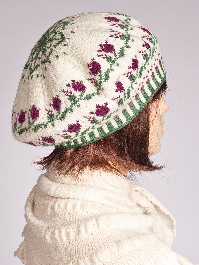 Knit women beret hat tam blue yellow red fair isle flower pattern for women for girls woolen hand knitted beret hat Christmas gift for her