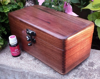 In Stock, Walnut Wood Box.  Made to hold 18 Essential oil bottles