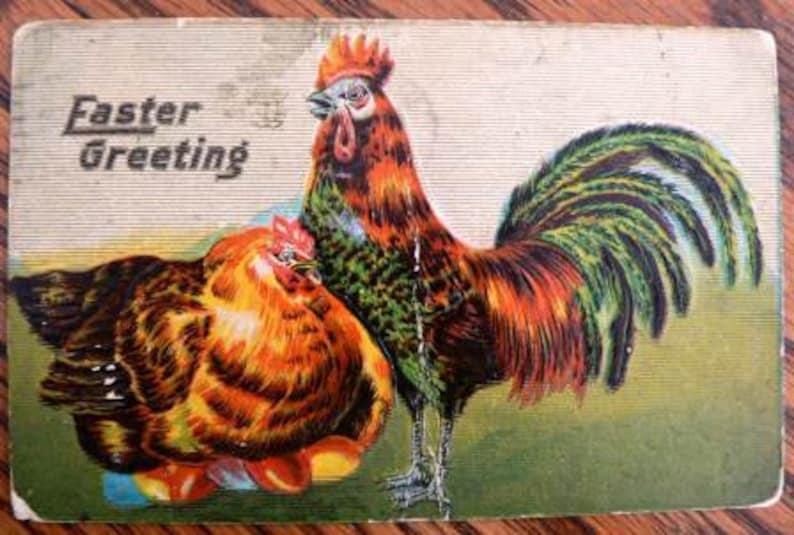 vintage POSTCARDS ... EASTER GREETING Hens stamped 1910... image 1