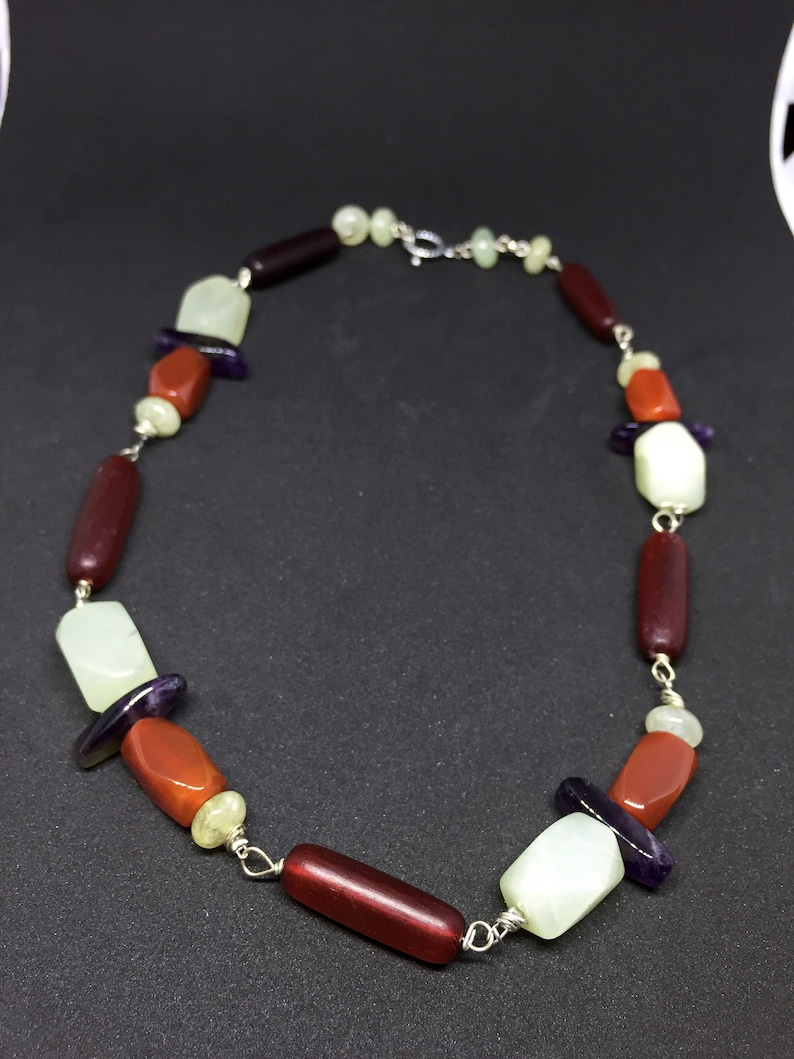earth tones choker choker with amethyst agate carnelian horn colorful choker tribal boho choker choker necklace with semiprecious stones