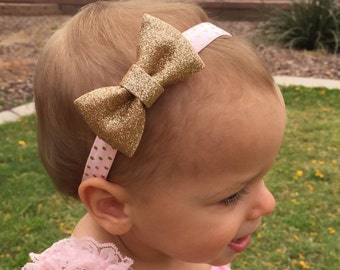 Gold Bow Headband..Newborn Headband..Baby Girl Headband..Baby Headband..Infant Headband..Bow Headband..Gold headband..1st birthday