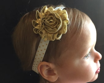 White and Gold Headband..Baby Headband..Gold Headband..Headband..Toddler Headband..Baby Headbands..Infant Headband..Newborn Headband