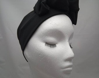Turband vintage 1950s style pre knotted stretchy headband black