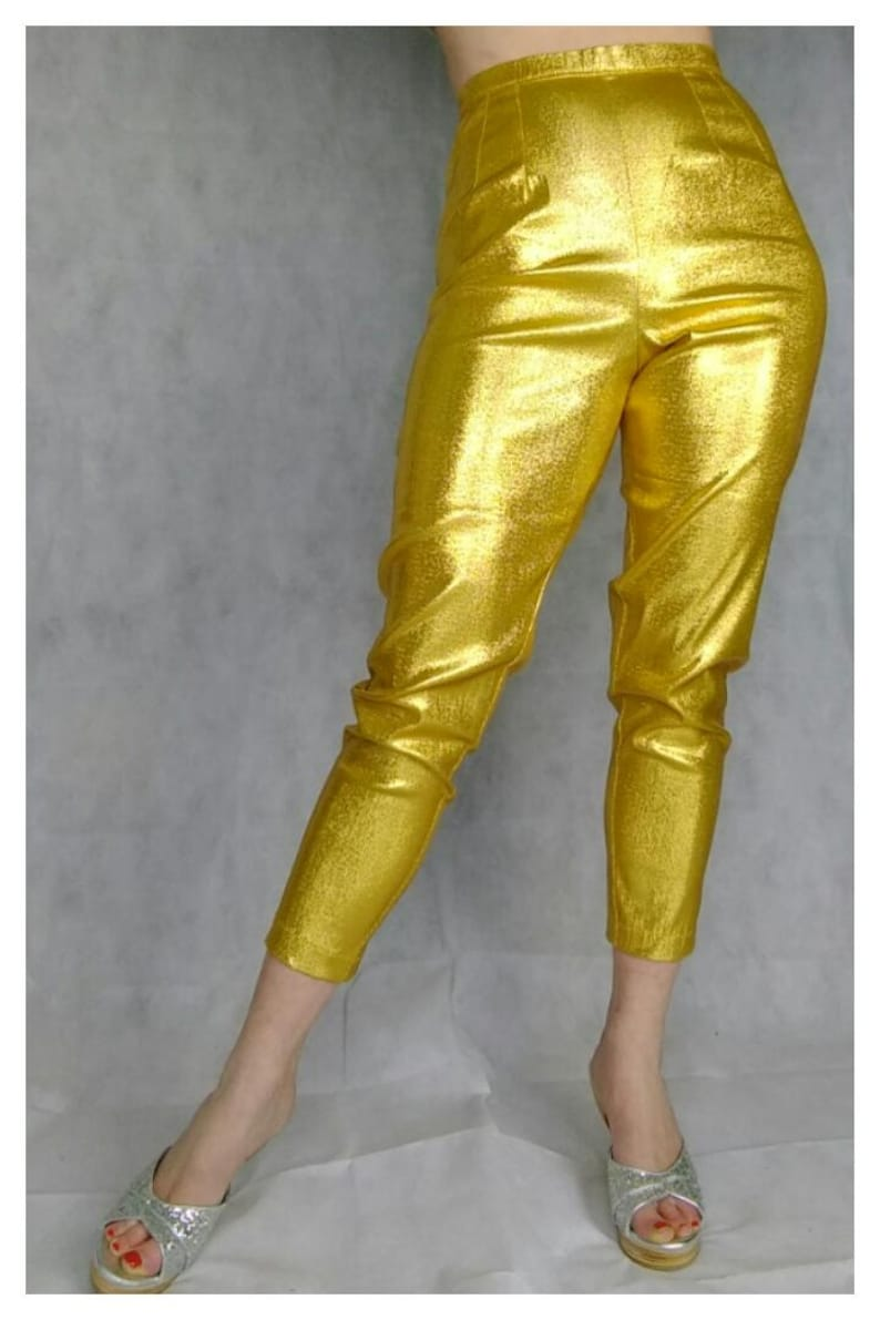Vintage High Waisted Trousers, Sailor Pants, Jeans Vintage 1950s style lamé cigarette pants. Gold pink emerald $97.44 AT vintagedancer.com