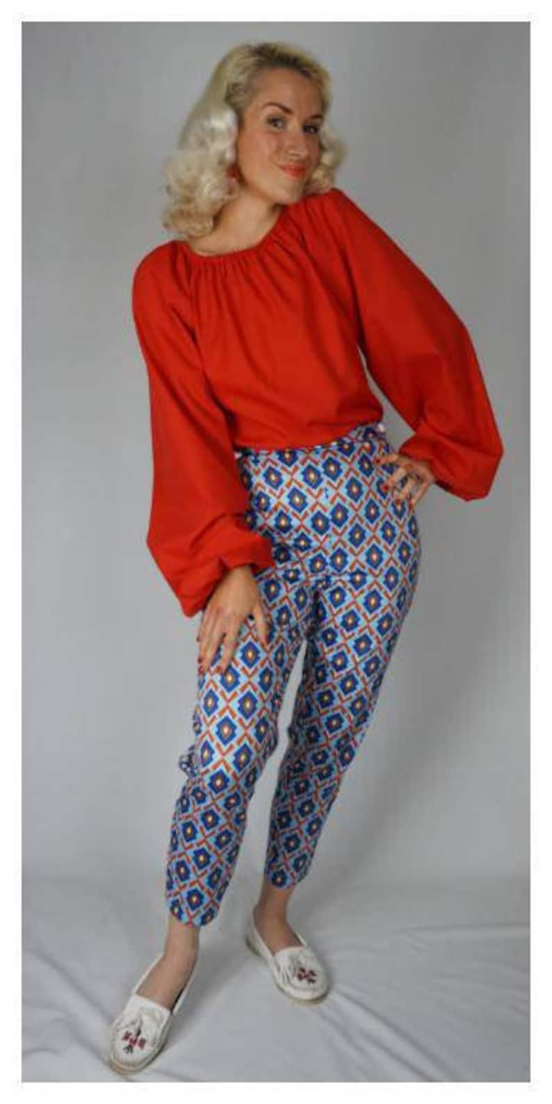 60s Fancy Dress and Quality Clothing 1960s UK Aztec 1950s 1960s vintage style cigarette pants pin up capri $71.10 AT vintagedancer.com
