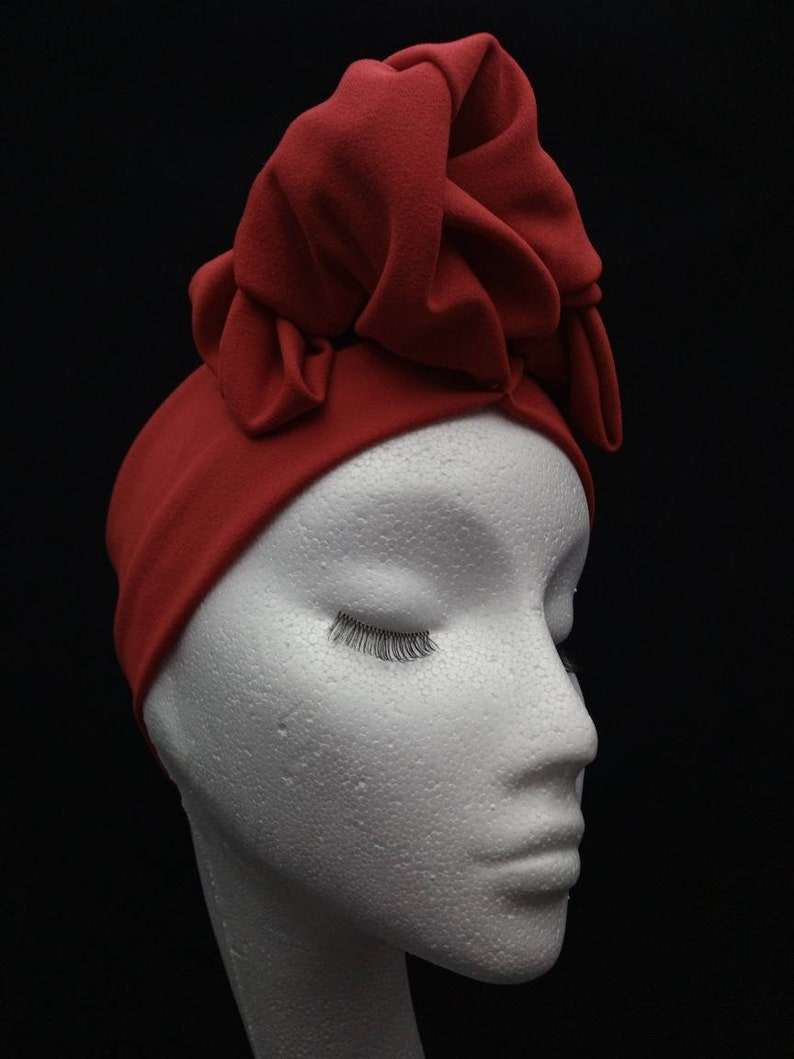 1940s Hair Snoods- Buy, Knit, Crochet or Sew a Snood Turband vintage 1950s style pre knotted stretchy headband red $16.99 AT vintagedancer.com