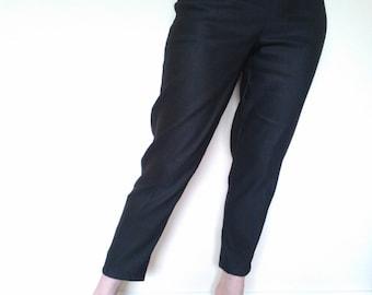 Black 1950s style cigarette pants, true vintage fit.