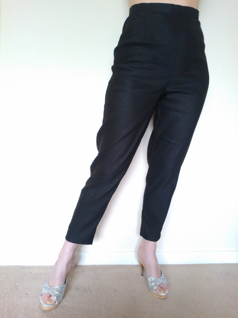 1950s Pants History for Women Black 1950s style cigarette pants true vintage fit. $64.96 AT vintagedancer.com