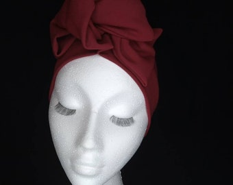 New! Vintage style 1950s 1960s pre tied knotted turband headband burgandy