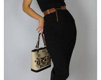 Ramona dress 1950s 1960s vintage style stretch dress black