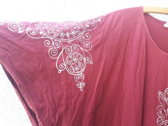 Vintage 70's Hand Printing Kaftan Maxi Dress   Bu… - image 5