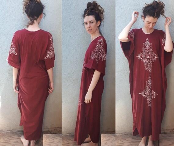 Vintage 70's Hand Printing Kaftan Maxi Dress   Bu… - image 2