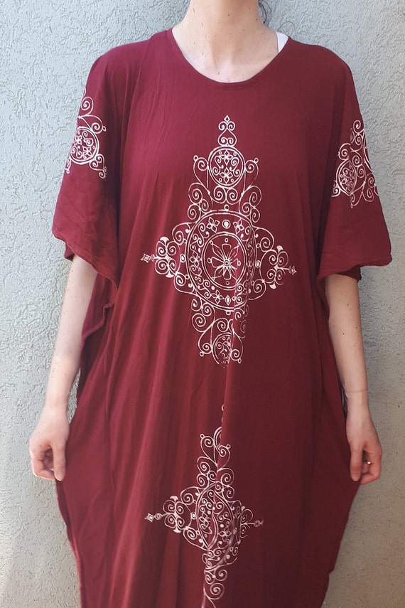Vintage 70's Hand Printing Kaftan Maxi Dress   Bu… - image 9