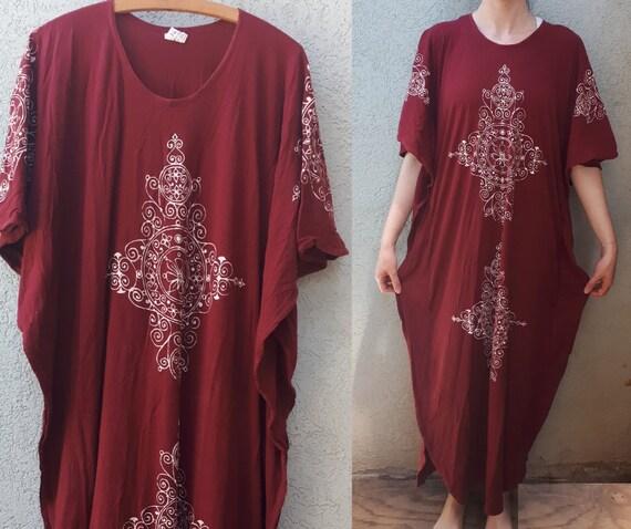 Vintage 70's Hand Printing Kaftan Maxi Dress   Bu… - image 8