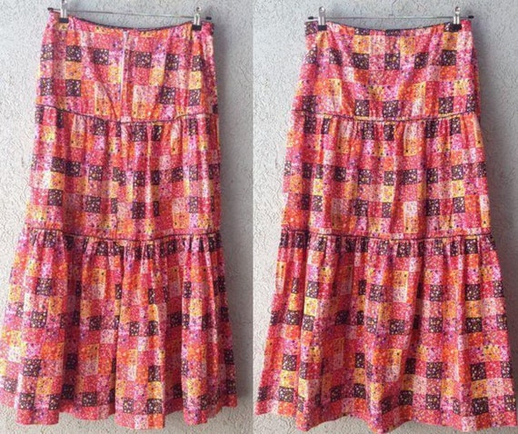 Vintage Israeli ATA  Cotton Maxi Skirt