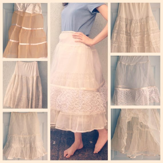 Vintage Petticoat Tulle • 1950s Crinoline Skirt •