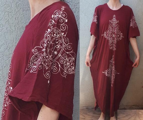 Vintage 70's Hand Printing Kaftan Maxi Dress   Bu… - image 1