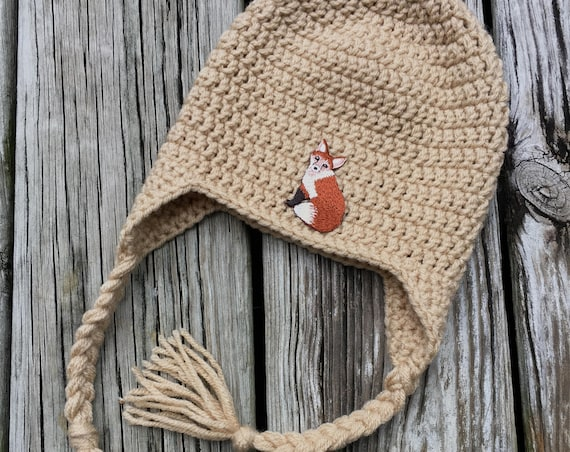 Baby Hat with Ear Flaps and Fox