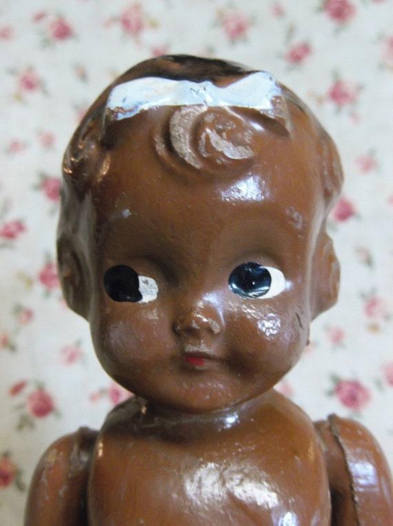 Vintage/Antique Black Composition Baby Doll