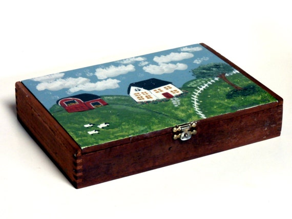 Upcycled Cigar Box with Folk Art Painting      OOAK        Primitive