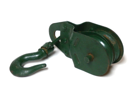Vintage Green Double Pulley     Industrial/Farm Decor