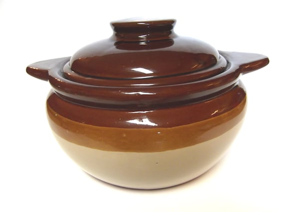 Vintage Stoneware Casserole Dish With Lid Himark